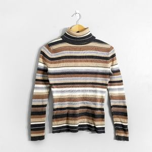 5/$25 🌿 Brown Ribbed Striped Turtleneck Sweater
